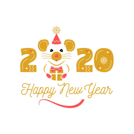 Year of the Rat 2020 Chinese Zodiac. Happy New Year greeting card. Cute rat and date 2020 year. Elegant vector illustration Illusztráció