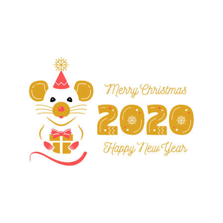 Year of the Rat 2020 Chinese Zodiac. Christmas Card and Happy New Year Greetings. Cute rat and date 2020 year. Modern vector card