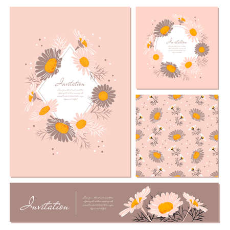 Flowers cards set Chamomile background Daisy wreath. Elegant floral cards with text space. Flowers and leaves of daisies on a gentle pink background. Vector illustration