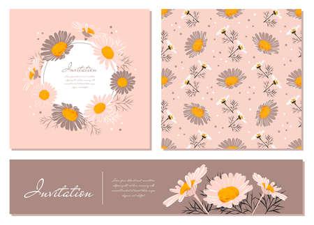 Set di carte di fiori Sfondo di camomilla Corona di margherita. Fiori e foglie di margherite su uno sfondo rosa delicato. Inviti floreali vettoriali