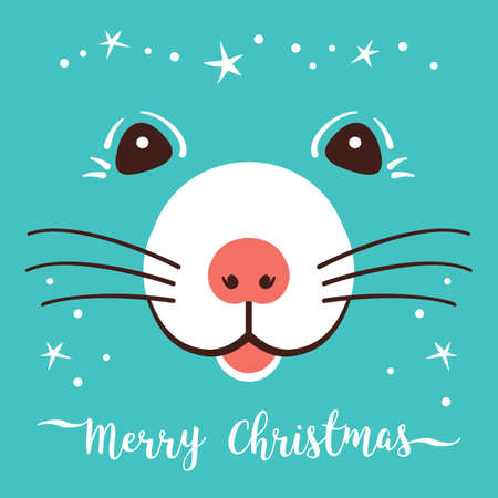 Christmas cartoon Rat, Greeting cards Merry Christmas and New Year 2020. Cute little fairy mouse, Holiday card Vector illustration