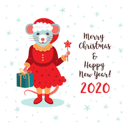 Cute rat character, Christmas Card and Happy New Year Greetings. Year of the Rat 2020 Chinese Zodiac, Vector illustration