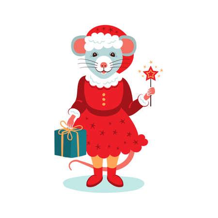 Cute rat character Christmas Card. Cartoon mouse holds a gift and a sparkler. Christmas cartoon rat. Vector illustration