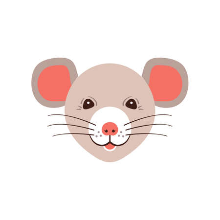 Icon Rat, Cute muzzle mouse. Cartoon rat head, Vector icon