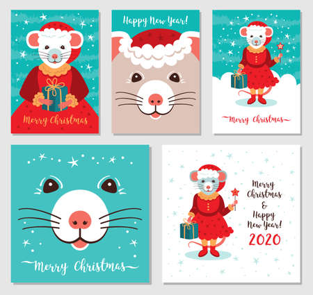 Funny Christmas rats, Greeting cards Merry Christmas and New Year 2020. Cute rat in Santa hat Christmas cards. Mega Bundle Vector illustration