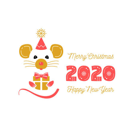 Cute rat and date 2020 year. Christmas Card and Happy New Year Greetings. Year of the Rat 2020 Chinese Zodiac. Vector trendy minimal design