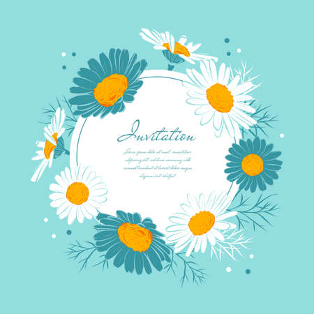 Flowers card Chamomile background Daisy wreath. Blooming daisies on a gentle turquoise background. Elegant floral card with text space. Vector isolated illustration