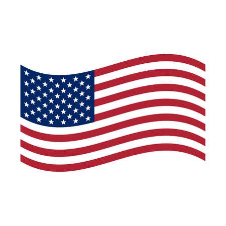 Waving flag USA. United States of America flag, Vector illustration