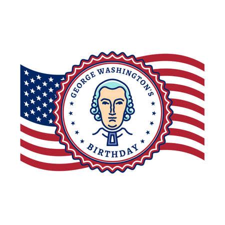 George Washingtons Birthday. Waving flag United States of America and portrait of George Washington. National Holiday USA, Vector poster
