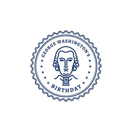 George Washingtons Birthday. Portrait of George Washington stamp icon. National Holiday USA, Vector graphics