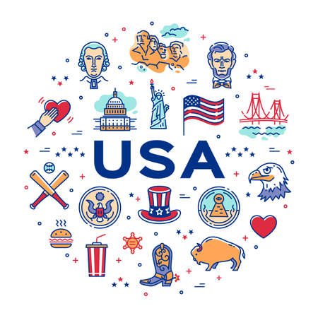 USA linear icons, circle infographics. American culture thin line icon set. Vector Infographic banner Reklamní fotografie - 133320308
