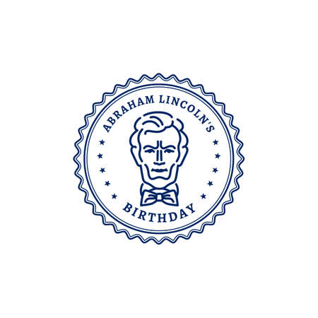 Abraham Lincolns Birthday. Portrait of Abraham Lincoln stamp icon. National Holiday USA, Vector graphics