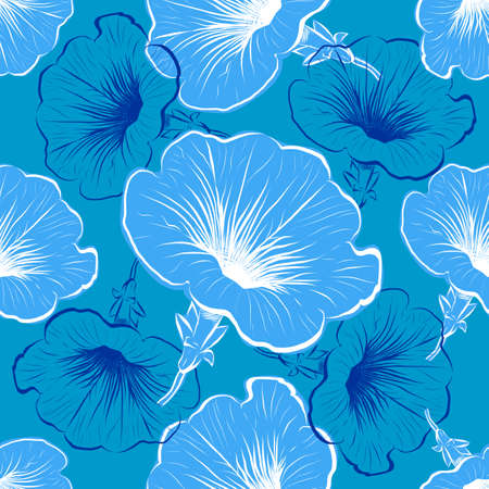 Petunia flower seamless pattern. Petunia flowers blue background. Vector illustration