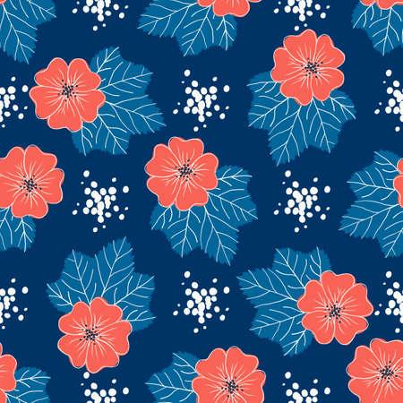 Red-blue floral pattern. Trendy seamless floral background. Vector illustration Ilustração