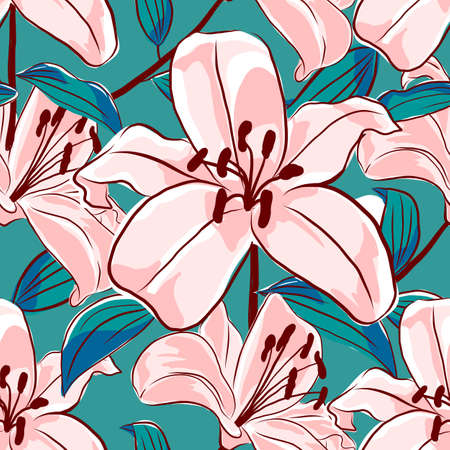 Lilies flowers seamless pattern. Blooming pink lilies on a turquoise background. Stylization of watercolors. Vector floral illustration