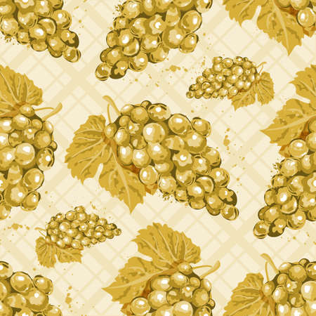 Watercolor grapes seamless pattern, White wine. Watercolor bunches of white grapes on an isolated checkered background.