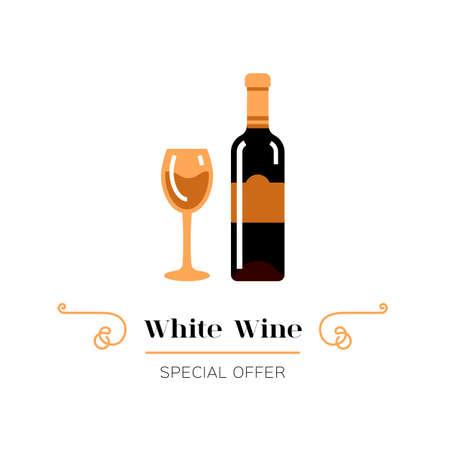 White wine and glass of wine icon. White wine label. Emblem design, Vector illustration 向量圖像