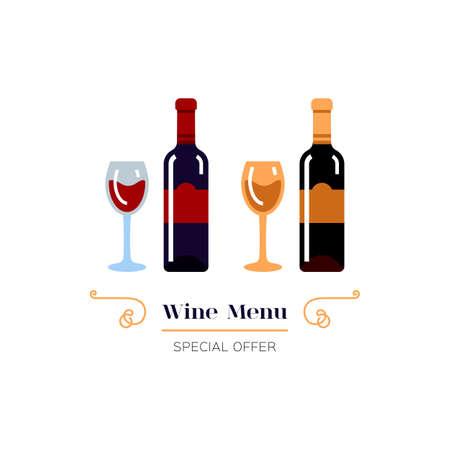 Red and White Wine icon, Wine menu. Winemaking, tasting. Glasses and bottles of wine. Emblem design, Vector illustration 向量圖像