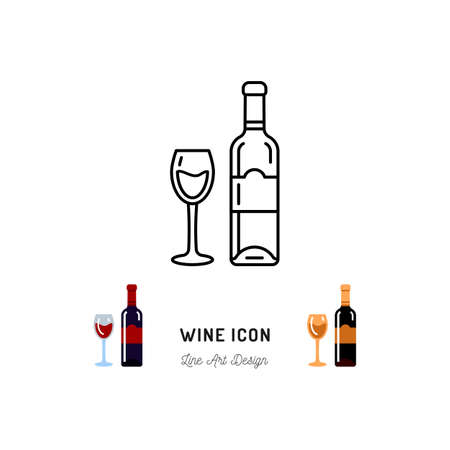 Wine line icon. A bottle of wine and a glass, Red and White Wine. Emblem design, Vector outline illustration 向量圖像