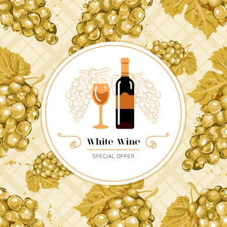 White wine label. White grape seamless pattern. White wine bottle and glass icon.