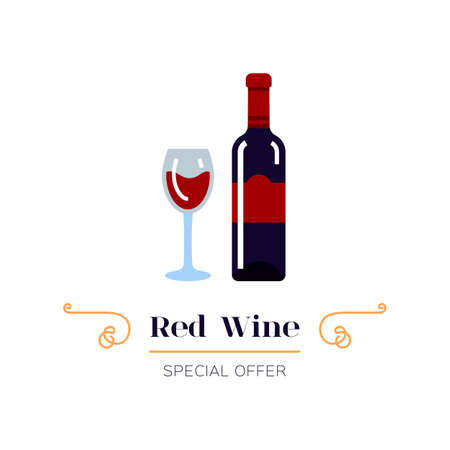 Red wine and glass of wine icon. Red wine label. Emblem design, Vector illustration