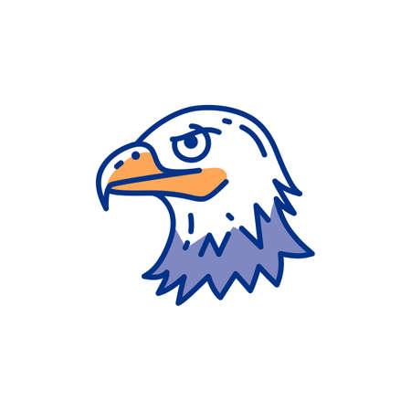 Eagle head icon, Bird eagle thin line art colorful icons, Vector flat illustration