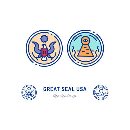 Great Seal of the United States line icon. Stylized linear icon, Obverse and reverse side of the Great Seal. Seal of the President of USA. Vector flat illustration