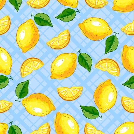 Lemon fruit seamless pattern. Yellow lemons on a blue checkered background. Vector hand drawn illustration
