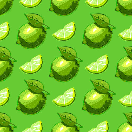 Lime fruit seamless pattern. Citrus fruits repeat background. Vector hand drawn illustration  イラスト・ベクター素材