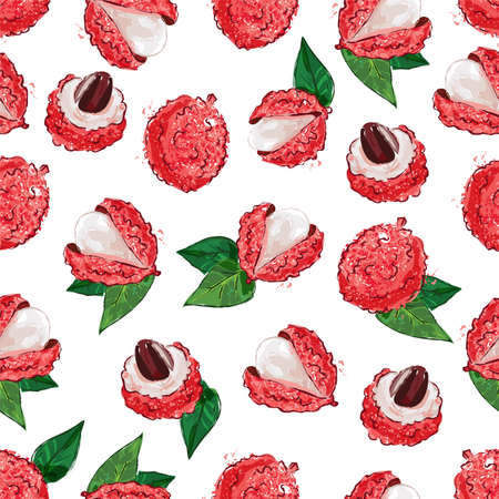 Lychee fruit seamless pattern. Exotic fruit Litchi on a white background, Vector illustration  イラスト・ベクター素材