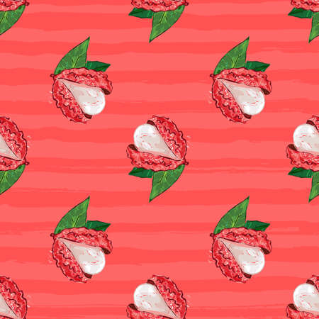 Lychee fruit seamless pattern. Exotic fruit Litchi on a pink striped background, Vector illustration