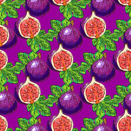Figs fruit pattern, figs half and figs leaves seamless pattern. Striped background, Vector hand drawn illustration  イラスト・ベクター素材