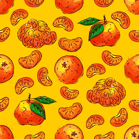 Tangerines fruit seamless pattern. Citrus fruits repeat background. Tangerine and slice tangerine on an orange background Vector hand drawn illustration
