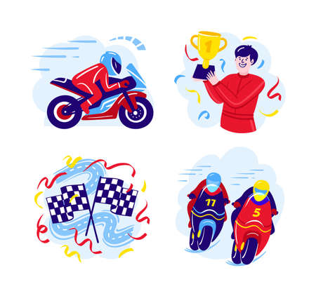 Set of motorcycle racing illustrations in a flat design. Motorcycle Racers, Start and Finish Flags. Vector illustration  イラスト・ベクター素材