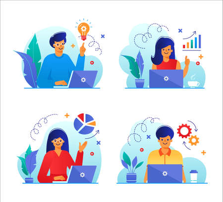 Set of business people with laptops in flat design. Businessman, Office Employees, Managers with Laptops. Vector  イラスト・ベクター素材