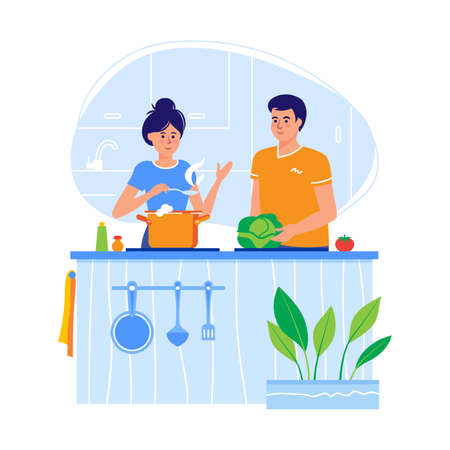 Young couple cooking in a kitchen in a flat design. The family prepares and tastes food. Vector  イラスト・ベクター素材
