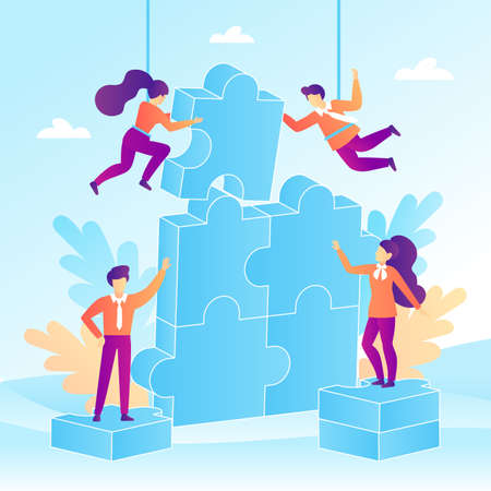 Teamwork concept with jigsaw puzzle elements in a flat design. Business people put together a puzzle. Vector illustration