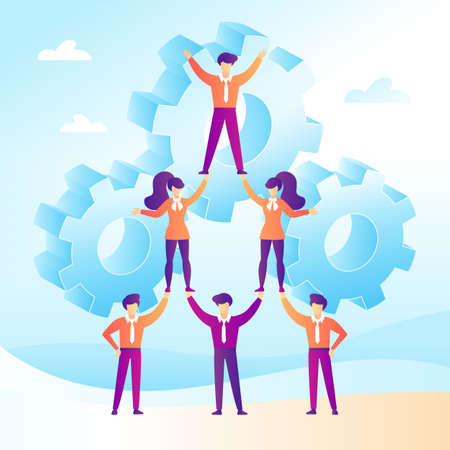 Teamwork concept with business people forming a pyramid in a flat design. Trend soft gradient. Vector illustration  イラスト・ベクター素材