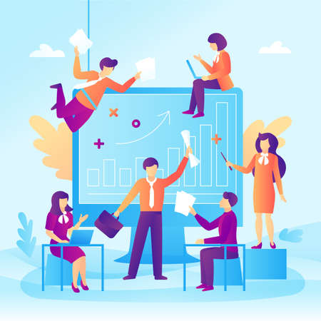 Business people and a presentation in a flat design. Business people teamwork and growth graph. Vector illustration