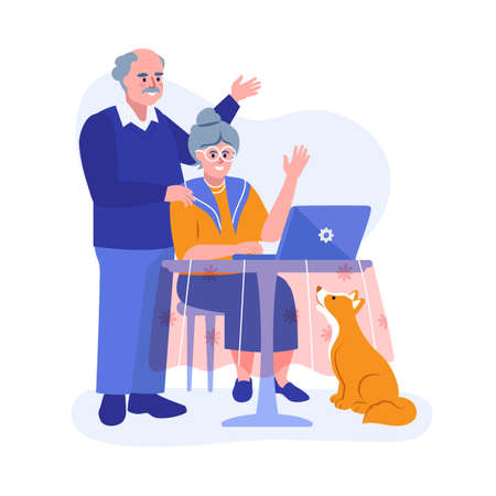 An elderly couple using a laptop. Vector illustration  イラスト・ベクター素材