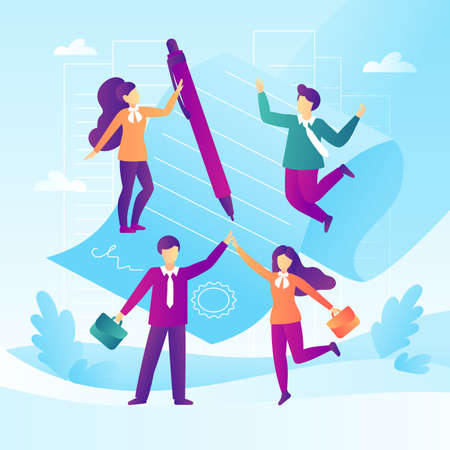 Business deal, teamwork concept. Signed document with business people in a flat design. Vector illustration