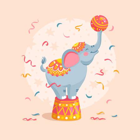 Cartoon circus elephant with a ball Vector illustration  イラスト・ベクター素材