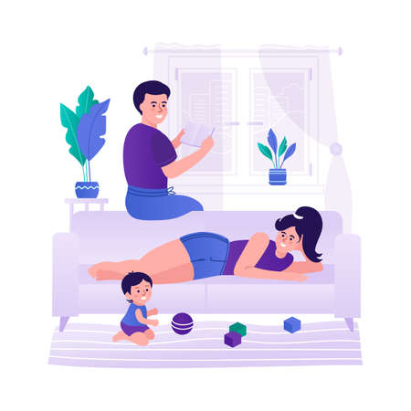 Family with a child relaxing at home. The family spends time together. Stays at home. Vector illustration
