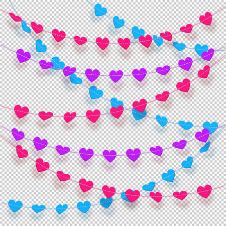 Hearts on a string hanging decorations with transparent background. Realistic garland of multicolored hearts. Vector illustration  イラスト・ベクター素材