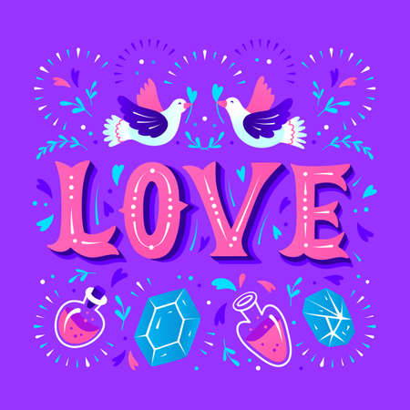Love Card with magical decorative elements and doves. Love Lettering Vector illustration