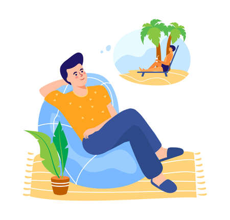 Smiling man dreaming about vacation. A man being at home dreams of vacationing on tropical islands. Vector