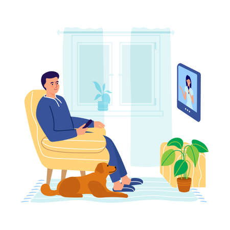 A man sits in an armchair and watches TV. A man with a dog watching the news on TV. Vector