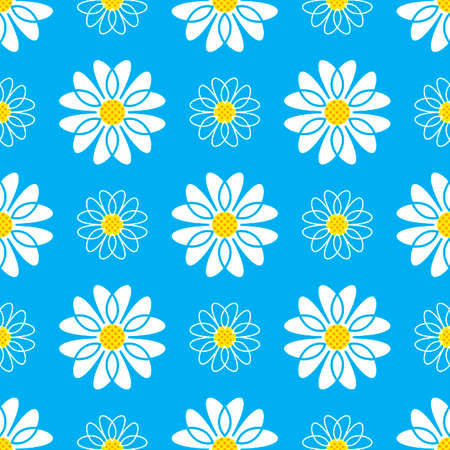Daisy seamless pattern. White daisies on a blue background, Floral background. Vector illustration  イラスト・ベクター素材