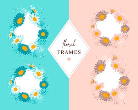 Floral frames of daisies flowers. Elegant floral wreaths. Vector illustration  イラスト・ベクター素材