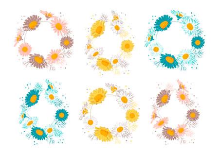 Floral frames set Flowers daisies. Elegant floral wreaths. Vector illustration